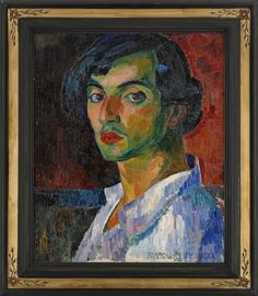 Self-Portrait by Isaac Grünewald Swedish painter, graphic artist and stage designer. Grünewald's painting was sensual expressionistic , colorful, decorative and life-affirming (wiki) - (erretratu) Abstract Portrait, Portrait Art, Expressionist Portraits, Social Art, Scandinavian Art, Jewish Art, Henri Matisse, Figurative Art, Oeuvre D'art