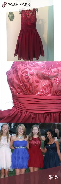 Beautiful Short Red Dress Deep red color with intricate sequin detailing. Used but still in good condition. WINDSOR Dresses Prom