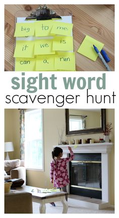 Easy and fun sight words scavenger hunt for kids.