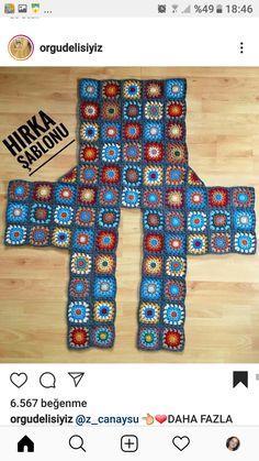 Crochet Jacket Pattern, Crochet Jumper, Crochet Quilt, Granny Square Crochet Pattern, Crochet Stitches Patterns, Crochet Poncho, Crochet Squares, Crochet Granny, Crochet Motif