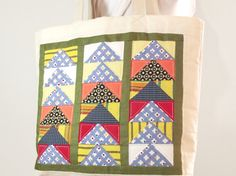 Canvas Tote Bag  Christmas Tote Bag  Patchwork by duduhandmade