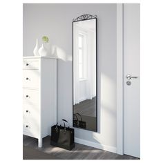 KARMSUND Floor mirror, black, 15 You decide the style of this mirror by adding or removing the crown up top. Hang tomorrow's outfit on the hooks and rail behind the mirror and enjoy a few more minutes of sleep in the morning. Tall Cabinet Storage, Locker Storage, Floor Standing Mirror, Ikea Mirror, Clothes Rail, Wall Brackets, Window Cleaner, Black Mirror, Small Bedrooms