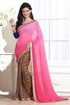 Pink Georgette Printed Saree With Blouse 66154