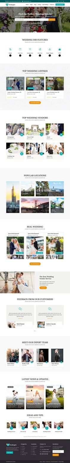 WeddingDir is a HTML Template who provided number of Wedding features for example, couple can easier to find category vendors on own wedding date with online booking service available for beautiful wedding websites with 2 niche homepage layouts to download now & live preview click on image 👆
