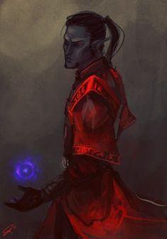 The Crimson Mage - The Elder Scrolls Elder Scrolls Games, Elder Scrolls Skyrim, Elder Scrolls Online, Fantasy Character Design, Character Inspiration, Character Art, Character Ideas, Dunmer Skyrim, Skyrim Races