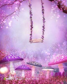 Purple Pink Fantasy Garden Swing Full Wall Mural Photo Wallpaper Home Dec Kid Photo Backgrounds, Wallpaper Backgrounds, Pink Mushroom, Cheap Wall Tapestries, Vegetable Garden Design, Fantasy Landscape, Photography Backdrops, Newborn Photography, Photo Wallpaper