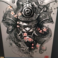 """Dragon Samurai"" Art Print by Elvin Tattoo on Artsider. Get the poster for… Bild Tattoos, Body Art Tattoos, New Tattoos, Sleeve Tattoos, Tattoos For Guys, Cool Tattoos, Awesome Tattoos, Tatoos, Interesting Tattoos"