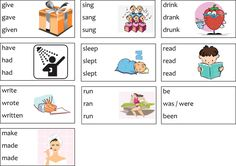 In this post your students can learn the past tenses and past participles of ten verbs. In the irregular verbs worksheet you find 7 exercises&an infographic First Grade Worksheets, Verb Worksheets, Worksheets For Kids, Teaching English, Learn English, Verbs For Kids, Irregular Past Tense Verbs, Verb Tenses, Adverbs