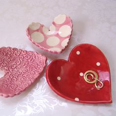 whimsical ceramic hearts  set of 3 dishes  soap dish by maryjudy, $18.00