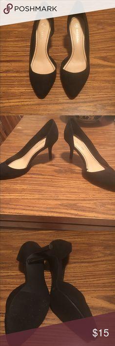 "Black kitten heels Suede black kitten heels. Apx 2"" heel height. Side cut out. Never worn. massini Shoes Heels"