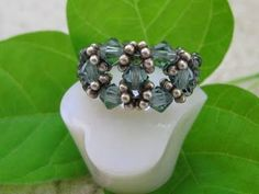 My Daily Bead: Swarovski Crystal Ring with Bali Silver Spacers