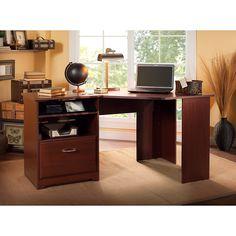 Bush Furniture Cabot Corner Desk with File Drawer in Harvest Cherry Desk With File Drawer, Corner Desk With Hutch, Home Office Desks, Home Office Furniture, Office Decor, Furniture Ideas, Desk Ideas, Office Ideas, Modern Furniture