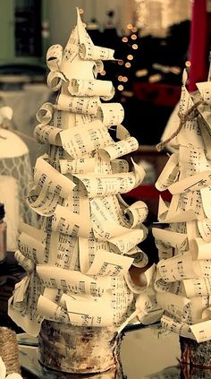 Sweet and Simple: Home & Entertaining * Vintage Sheet Music Christmas Tree Tutorial  #sweetsimplemag #25daysChristmas