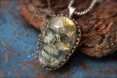 Labradorite Skull set in Etched Sterling Silver-Pendant
