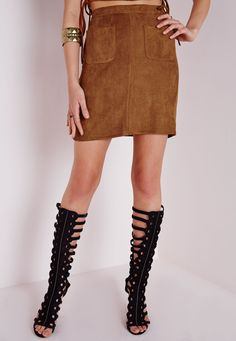 Missguided - Pocket Faux Suede Mini Skirt Tan