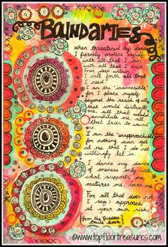 Boundaries art journal page by zoe ford topfloortreasures