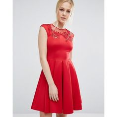 Ted Baker Embroidered Cut Out Dress ($240) ❤ liked on Polyvore featuring dresses, red, tall dresses, red cut out dress, cut out dresses, red cut-out dresses and embroidery dresses
