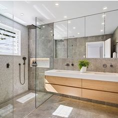 A contemporary master bathroom transformation that celebrates incredible ocean views of Cabbage Tree Bay in Mosman, Sydney. Family Bathroom, Small Bathroom, Master Bathroom, Bathrooms, Bathroom Sinks, Bathroom Vanity Designs, Apple Home, Wall Hung Vanity, Shower Niche