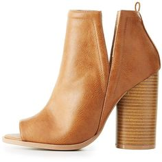 Charlotte Russe Peep Toe Side-Slit Booties ($25) ❤ liked on Polyvore featuring shoes, boots, ankle booties, tan, tan peep toe booties, wide width boots, peep-toe booties, charlotte russe booties and wide boots