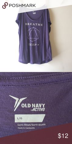 Purple athletic workout top Breathe deep Old Navy T-shirt perfect for working out and any athletic wear. Athletic and active loose flowy tshirt Old Navy Tops Tees - Short Sleeve