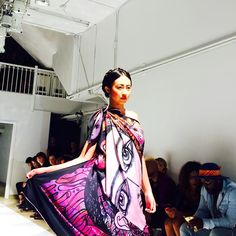 The colors of this dress are beyond amazing. So excited to check out NRI Style with @amconyc! #nyfwdiaries #nyc #amco