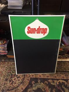 Vintage 1960's Sun-Drop Soda Pop Reastaurant Embossed Metal Chalkboard Sign 28"