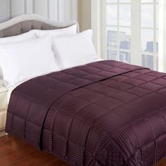 ShopHQ Shopping - Down Alternative Microfiber All-Season Reversible Blanket. Warm up chilly nights with this Down Alternative Reversible Blanket. This blanket keeps you warm without weighing you down. Down Comforter, Plum Comforter, Blanket Sizes, California King, Queen Size, Comforters, Duvet Covers, Quartos, Bonn
