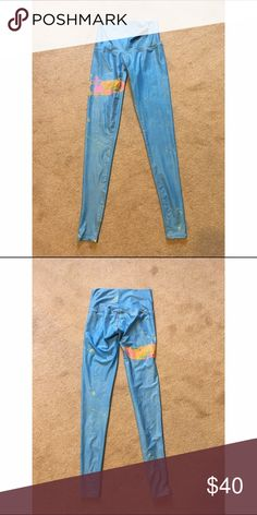 Teeki Yoga Pants. Teeki yoga pants. Baby blue with a design on them! Super comfy and easy to practice yoga in. Stylish for casual wear as well :) Never worn but the tags are off. Teeki Pants Leggings