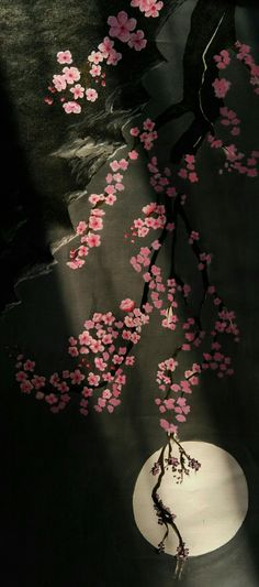 Tried to work out with acrylics..   My first cherry blossom painting.. I think I like the way the sun rays did it's part!