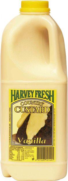 Harvey Fresh Vanilla Custard 2L  http://www.harveyfresh.com.au/products/Custard-Vanilla-2-Litre.html