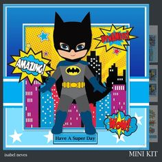 A Super Day by Isabel Neves A Super Day - Mini Kit Includes Card Front Mini Print & Fold Card Card Insert Tiles Decoupage Sentiment Tags and Preview