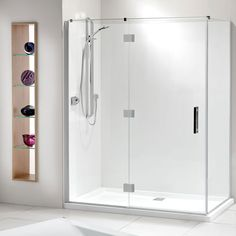 Lifestyle 2 Wall Flat Wall Shower - Can also get as 3 wall, 1400 Large Shower, Glass Shower, Bathroom Shower Enclosures, Tall Cabinet Storage, Locker Storage, Shower Plumbing, New Zealand Houses, Small Bathroom, Bathroom Ideas