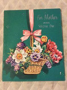 Vtg Greeting Card MOTHER's DAY 40's for Mom Victorian Basket Garden Flowers | eBay