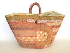 Decorated straw bag/ Spanish capazo/ Summer basket / Woven straw bag