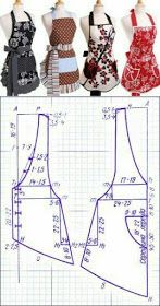 Tuto : Comment Faire tablier de cuisine – … Tuto: How to Make Kitchen Apron – 'Or' What Sewing Aprons, Dress Sewing Patterns, Sewing Patterns Free, Sewing Clothes, Clothing Patterns, Diy Clothes, Retro Apron Patterns, Apron Pattern Free, Vintage Apron Pattern