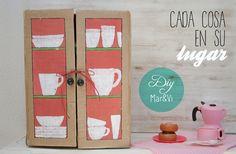 Manualidades para niños: armario de cartón para cocina de juguete