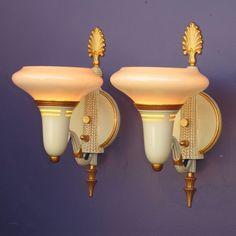 Pair Vintage Custard & Gold Wall Sconces 2 pair available priced per pair www.rubylane.com #antiquelighting #artdeco