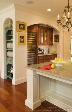 Idea of the Day: Two-Tone Kitchen with a tucked-away wet bar (By Crown Point Cabinetry) Cottage Kitchens, Home Kitchens, Crown Point Cabinetry, Pantry Inspiration, Two Tone Kitchen Cabinets, Classic White Kitchen, Kitchen Pictures, Kitchen Ideas, Kitchen Designs