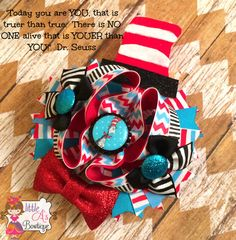 Cat in the hat bow Dr. Seuss bow Hair bow OTT by LittleAsBowtique