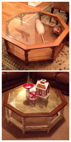 Updated It  Removed Wicker Bottom, Distressed With Paint, Restained Top,  And Aged The Glass With Looking Glass Paint.