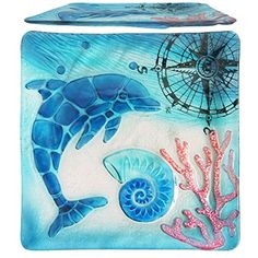 """Comfy Hour 12"""" Decorative Ocean Coastal Dolphin Sea Snail Conch Coral Marin Compass Square Glass Plate, Dishwasher Safe, Blue -- Read more at the image link. (This is an affiliate link) #KitchenDining"""