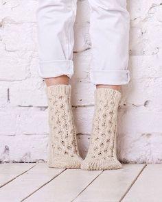 Cable socks Knitted cable socks Beige handmade socks Winter