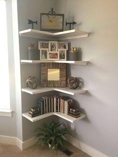 17 Newest Corner Shelves Design Ideas For Home Decor Looks Beautiful 027 Home Bedroom, Home Living Room, Living Room Decor, Bedroom Decor, Corner Furniture, Home Decor Furniture, Diy Home Decor, Corner Shelf Design, Corner Shelves