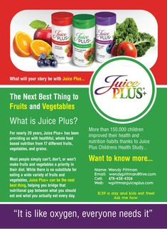 Juice Plus+ has been feeding our families for 20 years. 30+ Published Clinical Studies supports Juice Plus. Olympic Athletes rely on it and it's available to you and your family for $1.39 day (per adult) and kids eat free. Ask me how. www.wpittmanjuiceplus.com #juiceplus #kidseatfree #fruitsandveggies