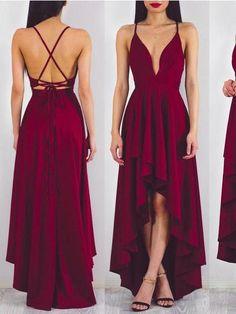 High Low Prom Dresses Simple A-line Sexy Long Chiffon Cheap Prom Dress JKL862