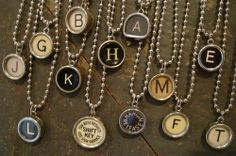 What's your type? Vintage typewriter key necklaces.