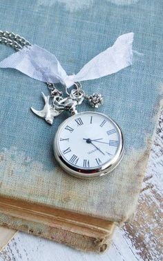 Time Flies Silver Pocket Watch NECKLACE Silver
