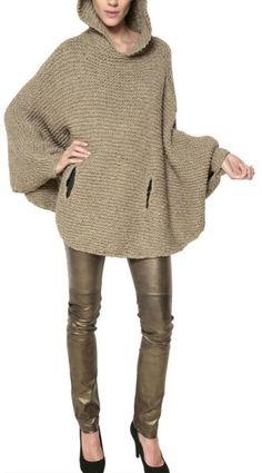Mes Demoiselles Hooded Wool Knit Lurex Cape Sweater in Green (olive)