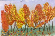 paisaje otoñal, chopos en otoño pintado con paste, nogalina y acrílico