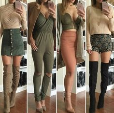4 green outfits